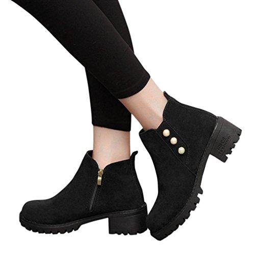 Transer® Damen Dicke Ferse Flock Kunstleder Stiefeletten Kurz Stiefel Herbst Winter Schuhe Stiefel mit Reißverschluss & Schnallen Schwarz