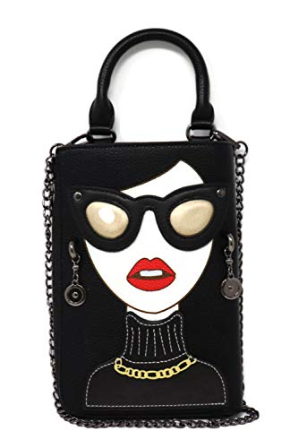 - BOUTIQUES Clutch Purse Tote Bag Leather with Lady Face Funky Shoulder Bag for Women (black 2), Large