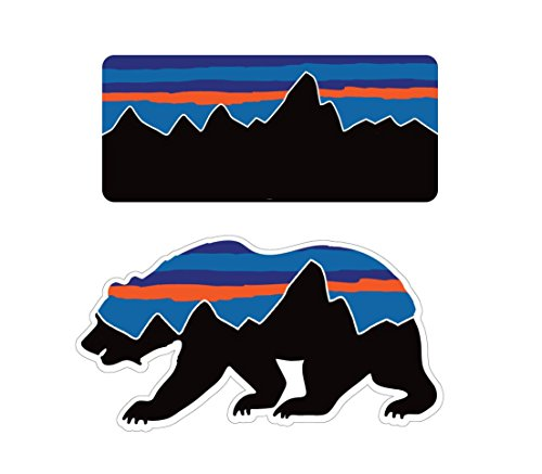 Patagonia Style Bear Combo Decals Stickers for Water Bottles Mountain Camping Travel Adventure Fishing [Premium Matte Vinyl]