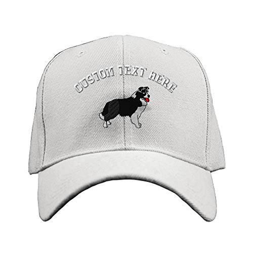 Custom Text Embroidered Border Collie Dog #1 Unisex Adult Hook & Loop Acrylic Adjustable Structured Baseball Hat Cap - White, One Size