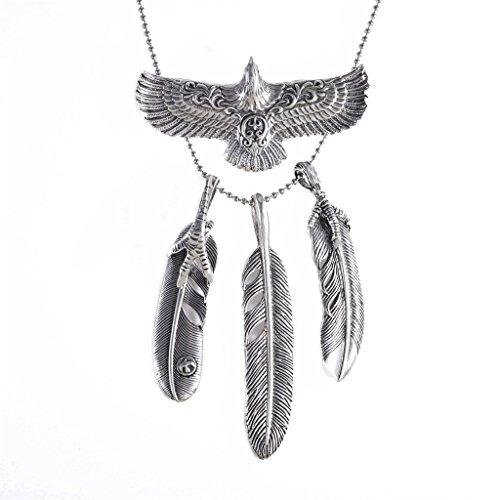 Heavy Sense Antique Silver Goros 19Pcs Eagle Feather and 4 Pcs Feature Charms