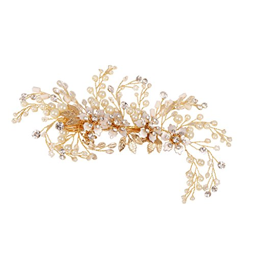 Price comparison product image MagiDeal Gypsophila Crystal Pearls Floral Hair Clip Wedding Bride Girl Prom Accessory