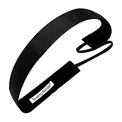 (Sweaty Bands Womens Girls Headband - Non-Slip Velvet-Lined Athletic Hairband - Rock Solid Black 1-Inch)