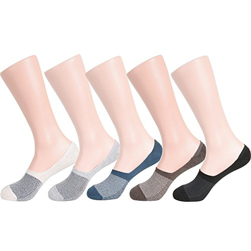 Men's No-show Casual Liner Socks Non-slip Heel Grip (One Size : Regular, 5Pair-Comb Pattern)