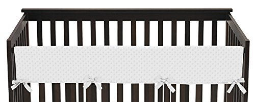 Sweet Jojo Designs Solid White Minky Dot Long Front Rail Guard Boys or Girls Baby Teething Cover Crib Protector (Minky Dot White Window)
