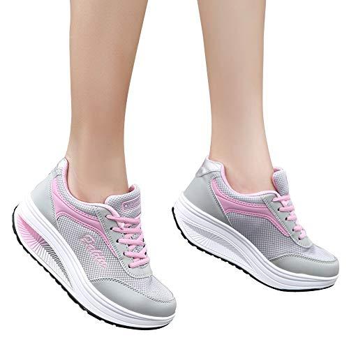 Malla Deportiva Walking Zapatillas Zapatos para Caminar Ligeros Calzado Slip para Mujer on Sneakers Rosa Loafer Huecos de Cinnamou Transpirables 46XRw6q