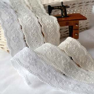White 14Yds Broderie Anglaise cotton eyelet lace trim 4.3cm YH1464