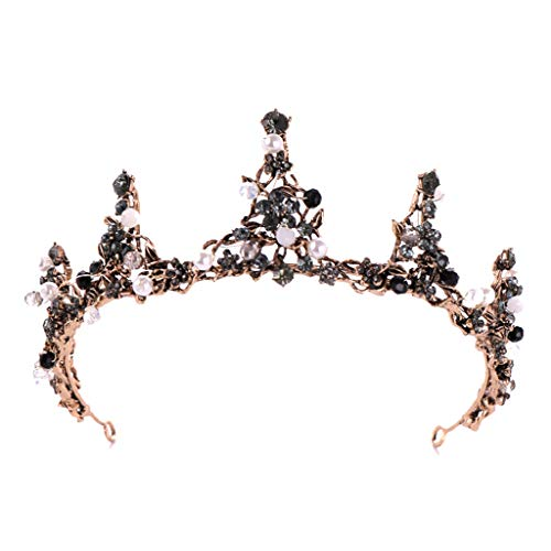 Topgee Luxurious and Elegant Crown Full of Crescent Shaped Headwear Ladies Jewelry Wedding Tiara Pearl Jewelry Shiny Bridal Crown Tiara Hair Jewelry for Women Lady