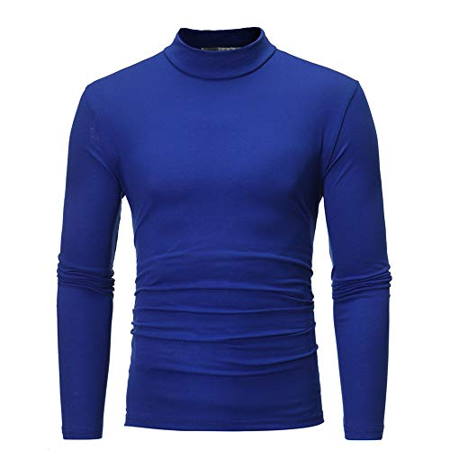 (Man Basic Pullover,Men's Autumn Winter Pure Color Turtleneck Long Sleeve T-Shirt Top Blouse Stylish Slim Fit Blouse Blue)