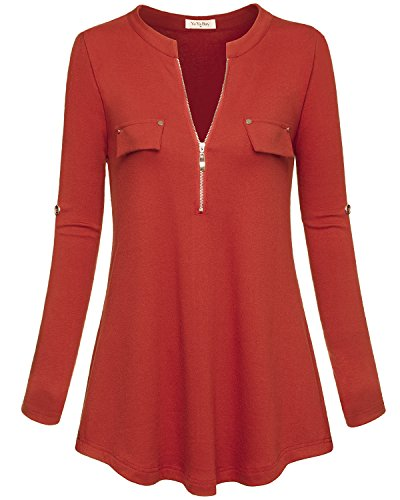 Black Button Tab Pencil Skirt - YaYa Bay Women's Notch-V Neck Long Sleeve Roll-Up Sleeve Zip Up Casual Shirt Blouse Tops (Small(US 8), Orange Red)