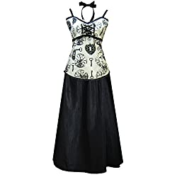 Victorian Steampunk Gothic Clock Print Dress Camisole & Skirt Ivory Black (L)