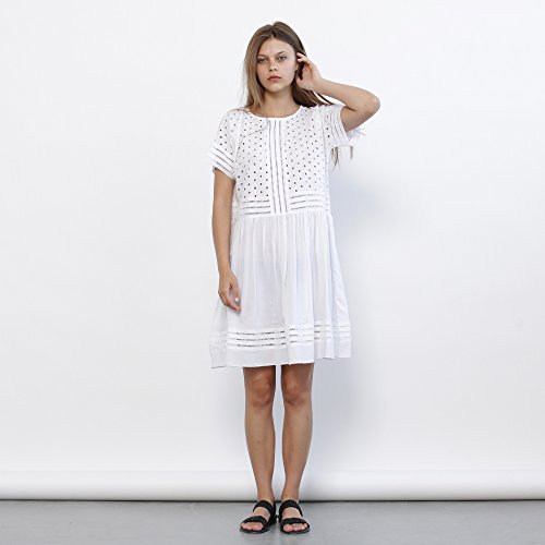 Eyelet Embroidery Panel Dress, White elegant summer dress - Holidays Sale 50% off by Naftul