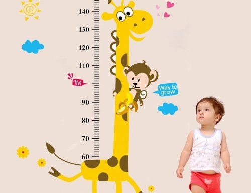 Wall Sticker Decal, Child Baby Infant Height Measure Chart 180cm/6 Feet, Tree & Monkey by DongFan