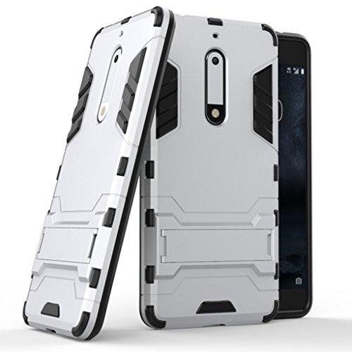 Nokia 8 Funda - Doble Capas Cáscara Silicona Híbrida Protectora Heavy Duty Blindaje Dura Cubierta Posterior con Soporte para Nokia 8 - Negro Plata