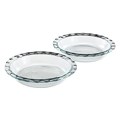 """Pyrex Easy Grab 9.5"""" Glass Pie Plate, 2 Pack"""
