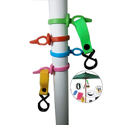 Anti slip Beach and Backyard Umbrella Hanging Hook,4 sets with 8 hooks to protect your camp gadgets Towels, Camera, Sunglasses and small Bags (Accessories Umbrella)