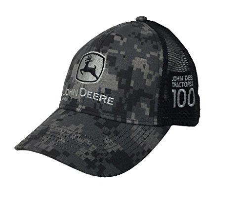 John Deere Mens 100 Year Anniversary Digital Camo Hat-Black (Deere Made John In)