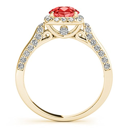 1.25 Ct. Ttw Diamond And Created Ruby Ring In 14k Yellow Gold