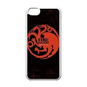 iPhone 5c White Cell Phone Case Game of Thrones Logo Hard Cell Phone Case