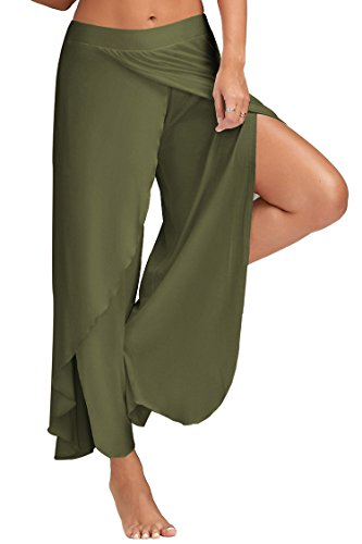 Pink Queen Women's Fashion Wide Leg Palazzo Trousers With Slit Dark Green M