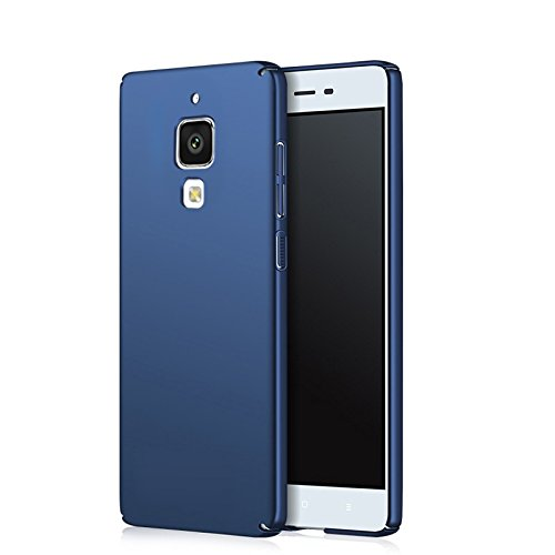 Apanphy Xiaomi 4 Carcasa, Alta calidad Ultra Slim Hard sedoso Scrub Shell plena protección trasera piel siento cover para Xiaomi 4 Azul