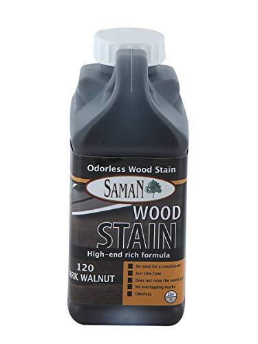- Saman Interior Water Based Stain for Fine Wood, Dark Walnut, 1 Quart