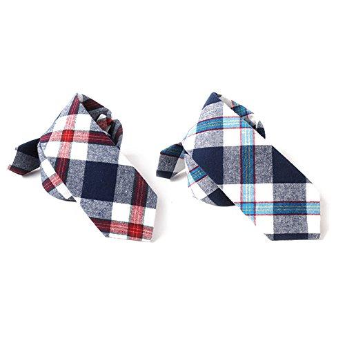 Skinny Neckties (Mantieqingway Men's Plaid Jacquard Skinny Necktie Cotton Tie (Style-2))