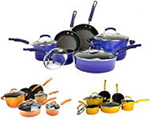Cookware Set Non-stick Porcelain Enamel Two Tone Colour Stylish Guaranted Durable 10 Pieces Set Rachel Ray