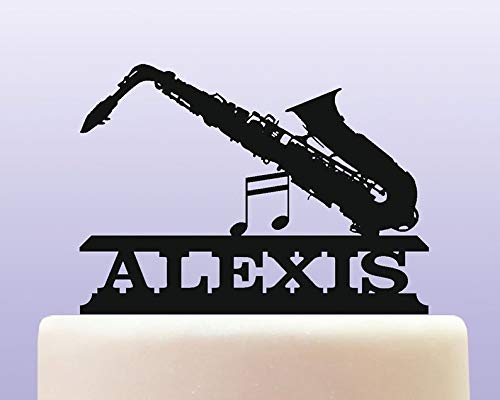 Personalised Acrylic Saxophone Brass Woodwind Musical Instrument Birthday Cake Topper Decoration