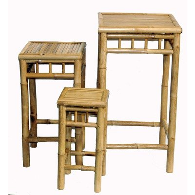 3 Piece Square Nesting Bamboo Stool Set Bamboo Swivel Bar Stool