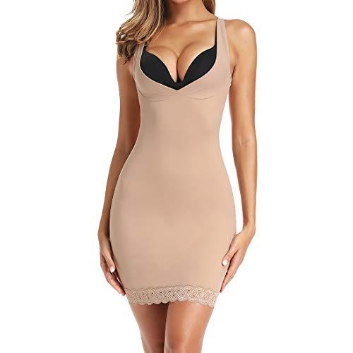 Women's Seamless Slimming Full Slip Shapewear for Under Dress Control Body Shaper Girdle Slip (Best Body Shaper Slip)