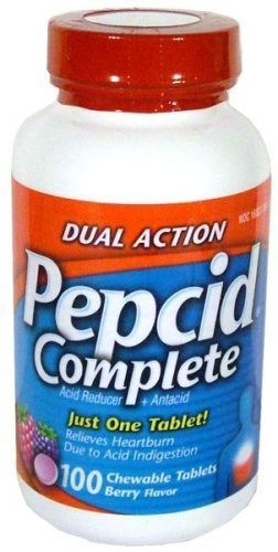 Pepcid Complete Dual Action Acid Reducer and Antacid Berry Flavored Chewable Tablets 100 Count Bottle by