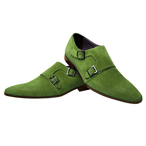 iTailor Men's Handmade Shoes : Green Suede Leather Double