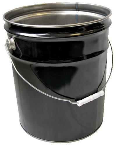 Vestil PAIL-STL-RI-UN Steel Pail with Handle, 5 gallon Capacity, Black by Vestil (Image #1)