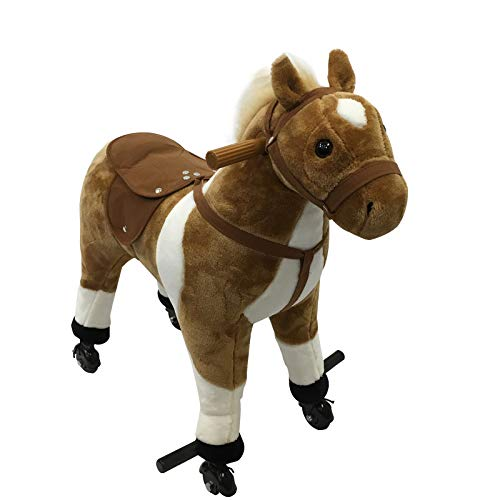 - Qaba Kids Plush Ride On Toy Walking Horse with Wheels and Realistic Sounds - Brown