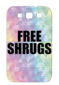Free Shrugs Shock-absorbent For Sumsang Galaxy S3 Teen Satire Funny Hugs Hippy Cool Retro Vintage Emo Drugs TPU Black Case