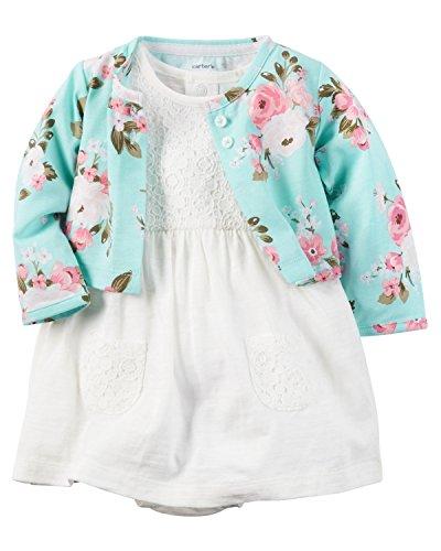 Carter's Baby Girls' 2 Piece Print Dress Set (12 Months, White/Multi)