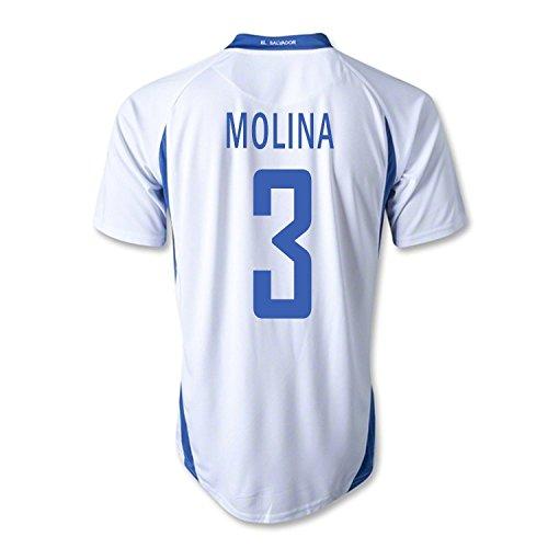 スタイル日曜日マオリMitre Molina #3 El Salvador Away Soccer Jersey/サッカーユニフォーム エルサバドル アウェイ用 Molina 背番号3