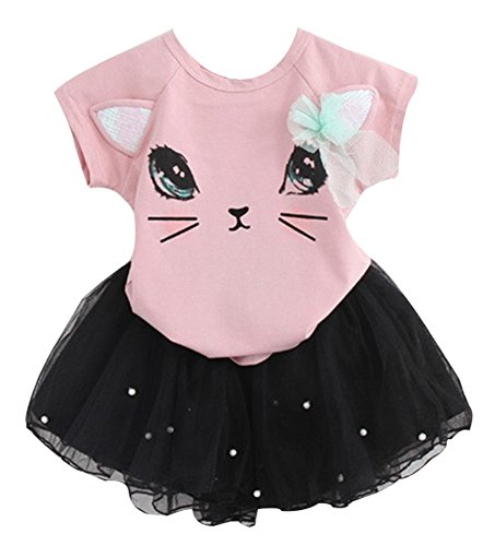 BomDeals Adorable Cute Toddler Baby Girls Clothes Set,Long Sleeve T-Shirt +Pants Outfit (Age(3T), Pink-C)