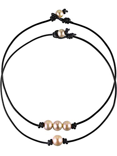 - 2 Pieces Single Freshwater Pearl Necklace and 3 Freshwater Pearl Beads Choker on Black Leather Cord for Girls Women (2 Pieces Style C)