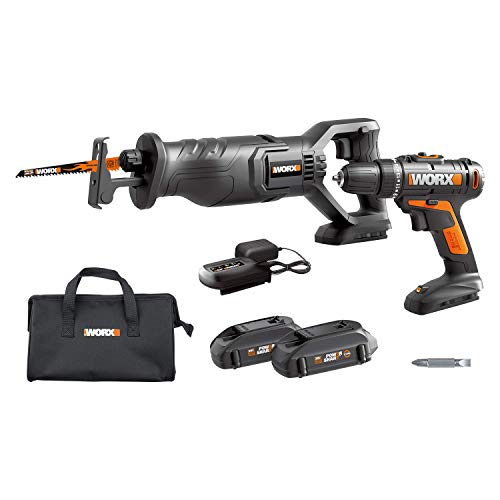 WORX WX946L 20V Cordles Drill Driver WX101L and 20V Cordless Reciprocating Saw WX500L Combo Kit Battery and Charger Included (Cordless Saws Combo)