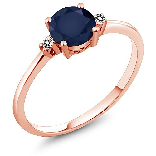 Sapphire Ring Rose (10K Rose Gold Engagement Solitaire Ring set with 1.03 Ct Round Blue Sapphire and White Diamonds)