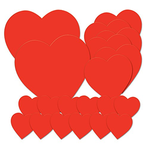 Beistle 77867 Printed Heart Cutouts, Red, Pack of