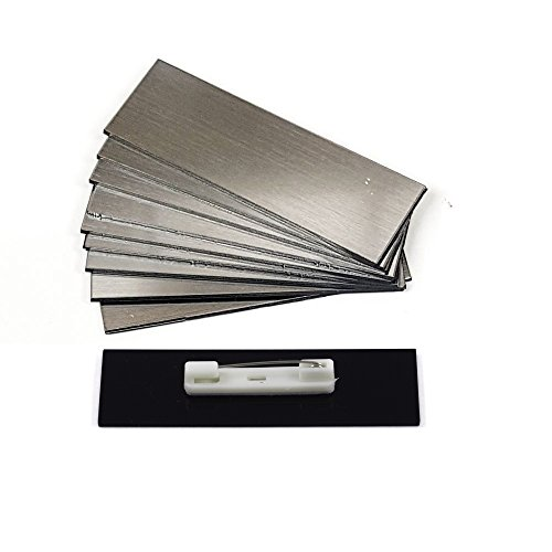 Name Badge Blanks with Pin - 10 Pack Brushed Silver - 1
