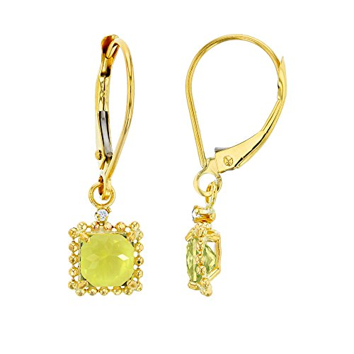 14K Yellow Gold 1.25mm Round Created White Sapphire & 5mm Square Lemon Quartz Bead Frame Drop Leverback Earring