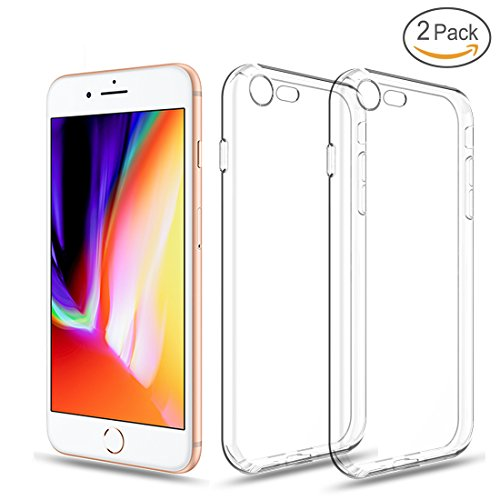 iPhone 8 Case, iPhone 7 Case, YILIN 2 Pack Slim Fit Clear Case Crystal Scratch Resistant Transparent Flexible Protective TPU Back Cover for iPhone 4.7 inches (Clear) from YILIN