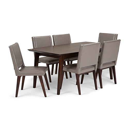 Simpli Home AXCDS7DRP-TP Draper Mid Century Modern 7 Pc Dining Set with 6 Upholstered Dining Chairs in Taupe Leather and 66 inch Wide Table
