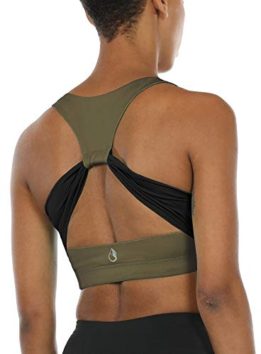 (icyzone Women's Activewear Fitness Moving Comfortbal Racerback Sports Bras (S, Army))