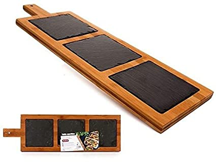 takestop Tabla de cortar madera Bambu Bambu Triple Pizarra 3 divisioni rectangular 20 x 64