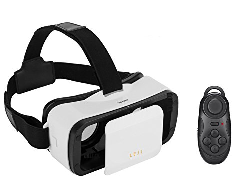 MSRM White 3D VR Glasses,3D VR virtual reality headset Movie Game For IOS, Android ,Microsoft& PC phones Series within 4.5-5.5inches.With Bluetooth gamepad / remote / self timer(WHITE)